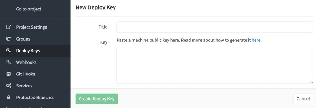 Adding the Kudu deploy key to GitLab