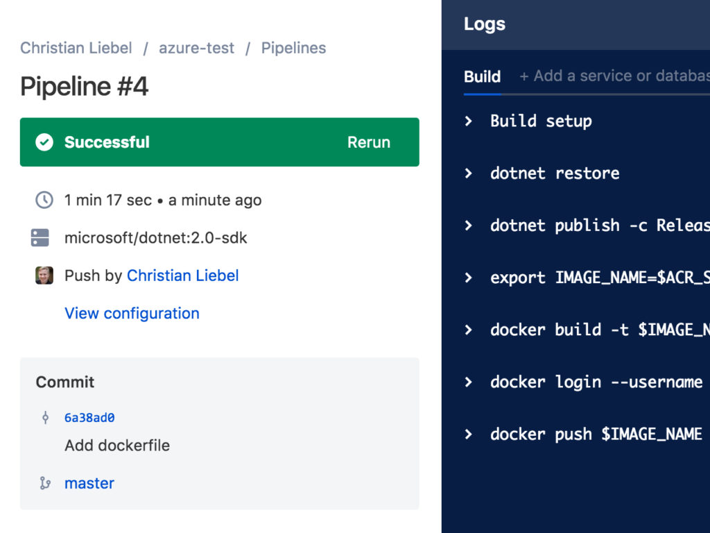 Bitbucket Successful Build via Pipeline